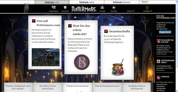 Die neue Pottermore-Startseite